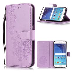 Intricate Embossing Dandelion Butterfly Leather Wallet Case for Samsung Galaxy S6 Edge G925 - Purple
