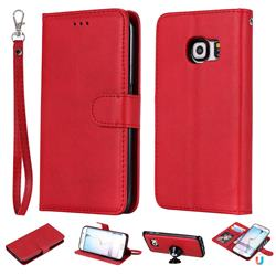 Retro Greek Detachable Magnetic PU Leather Wallet Phone Case for Samsung Galaxy S6 Edge G925 - Red
