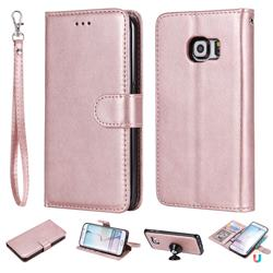 Retro Greek Detachable Magnetic PU Leather Wallet Phone Case for Samsung Galaxy S6 Edge G925 - Rose Gold