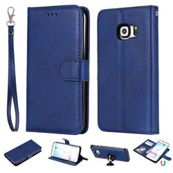 Retro Greek Detachable Magnetic PU Leather Wallet Phone Case for Samsung Galaxy S6 Edge G925 - Blue