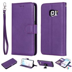 Retro Greek Detachable Magnetic PU Leather Wallet Phone Case for Samsung Galaxy S6 Edge G925 - Purple