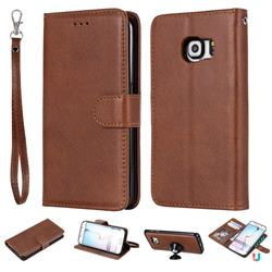 Retro Greek Detachable Magnetic PU Leather Wallet Phone Case for Samsung Galaxy S6 Edge G925 - Brown