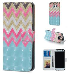 Color Wave 3D Painted Leather Phone Wallet Case for Samsung Galaxy S6 Edge G925