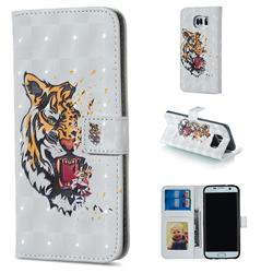 Toothed Tiger 3D Painted Leather Phone Wallet Case for Samsung Galaxy S6 Edge G925