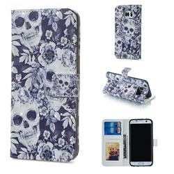 Skull Flower 3D Painted Leather Phone Wallet Case for Samsung Galaxy S6 Edge G925