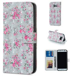 Roses Flower 3D Painted Leather Phone Wallet Case for Samsung Galaxy S6 Edge G925