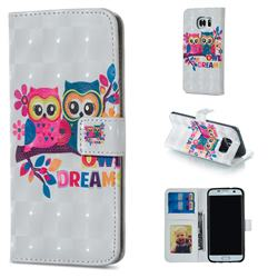 Couple Owl 3D Painted Leather Phone Wallet Case for Samsung Galaxy S6 Edge G925