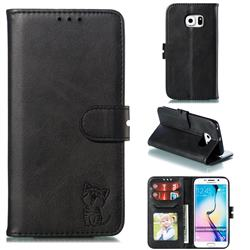 Embossing Happy Cat Leather Wallet Case for Samsung Galaxy S6 Edge G925 - Black