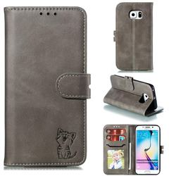 Embossing Happy Cat Leather Wallet Case for Samsung Galaxy S6 Edge G925 - Gray