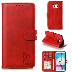 Embossing Happy Cat Leather Wallet Case for Samsung Galaxy S6 Edge G925 - Red