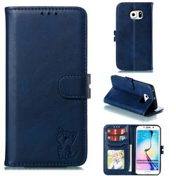 Embossing Happy Cat Leather Wallet Case for Samsung Galaxy S6 Edge G925 - Blue