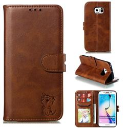 Embossing Happy Cat Leather Wallet Case for Samsung Galaxy S6 Edge G925 - Brown