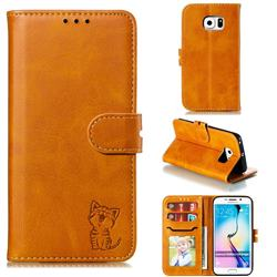 Embossing Happy Cat Leather Wallet Case for Samsung Galaxy S6 Edge G925 - Yellow
