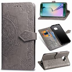 Embossing Imprint Mandala Flower Leather Wallet Case for Samsung Galaxy S6 Edge G925 - Gray