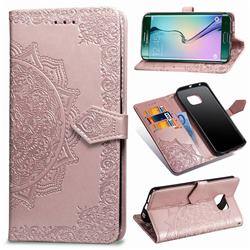 Embossing Imprint Mandala Flower Leather Wallet Case for Samsung Galaxy S6 Edge G925 - Rose Gold