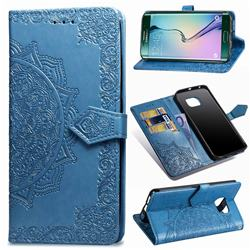 Embossing Imprint Mandala Flower Leather Wallet Case for Samsung Galaxy S6 Edge G925 - Blue