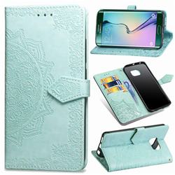 Embossing Imprint Mandala Flower Leather Wallet Case for Samsung Galaxy S6 Edge G925 - Green