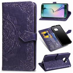 Embossing Imprint Mandala Flower Leather Wallet Case for Samsung Galaxy S6 Edge G925 - Purple