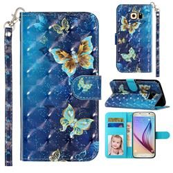 Rankine Butterfly 3D Leather Phone Holster Wallet Case for Samsung Galaxy S6 Edge G925