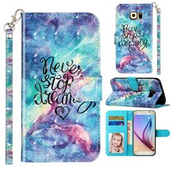 Blue Starry Sky 3D Leather Phone Holster Wallet Case for Samsung Galaxy S6 Edge G925