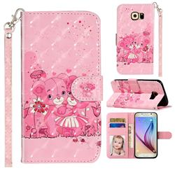 Pink Bear 3D Leather Phone Holster Wallet Case for Samsung Galaxy S6 Edge G925