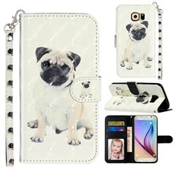 Pug Dog 3D Leather Phone Holster Wallet Case for Samsung Galaxy S6 Edge G925