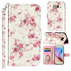 Rambler Rose Flower 3D Leather Phone Holster Wallet Case for Samsung Galaxy S6 Edge G925