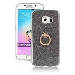 Luxury Soft TPU Glitter Back Ring Cover with 360 Rotate Finger Holder Buckle for Samsung Galaxy S6 Edge Plus Edge+ G928 - Black