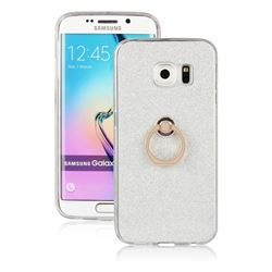Luxury Soft TPU Glitter Back Ring Cover with 360 Rotate Finger Holder Buckle for Samsung Galaxy S6 Edge Plus Edge+ G928 - White