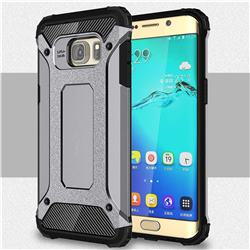 King Kong Armor Premium Shockproof Dual Layer Rugged Hard Cover for Samsung Galaxy S6 Edge Plus Edge+ G928 - Silver Grey