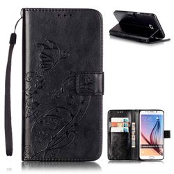 Embossing Butterfly Flower Leather Wallet Case for Samsung Galaxy S6 Edge Plus - Black