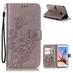 Embossing Butterfly Flower Leather Wallet Case for Samsung Galaxy S6 Edge Plus - Grey