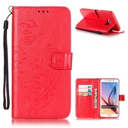 Embossing Butterfly Flower Leather Wallet Case for Samsung Galaxy S6 Edge Plus - Red