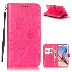 Embossing Butterfly Flower Leather Wallet Case for Samsung Galaxy S6 Edge Plus - Rose