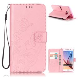 Embossing Butterfly Flower Leather Wallet Case for Samsung Galaxy S6 Edge Plus - Pink