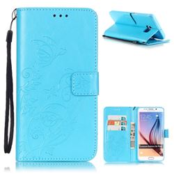 Embossing Butterfly Flower Leather Wallet Case for Samsung Galaxy S6 Edge Plus - Blue