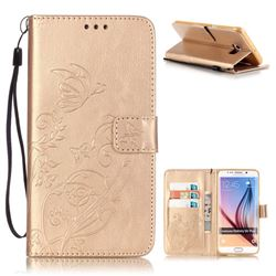 Embossing Butterfly Flower Leather Wallet Case for Samsung Galaxy S6 Edge Plus - Champagne