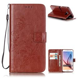 Embossing Butterfly Flower Leather Wallet Case for Samsung Galaxy S6 Edge Plus - Brown