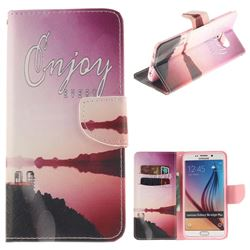 Seaside Scenery PU Leather Wallet Case for Samsung Galaxy S6 Edge Plus Edge+ G928