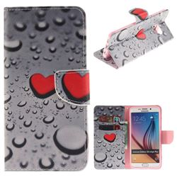 Heart Raindrop PU Leather Wallet Case for Samsung Galaxy S6 Edge Plus Edge+ G928