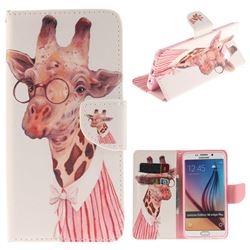 Pink Giraffe PU Leather Wallet Case for Samsung Galaxy S6 Edge Plus Edge+ G928