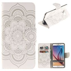 White Flowers PU Leather Wallet Case for Samsung Galaxy S6 Edge Plus Edge+ G928