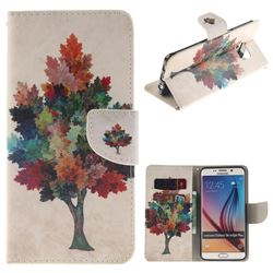 Colored Tree PU Leather Wallet Case for Samsung Galaxy S6 Edge Plus Edge+ G928