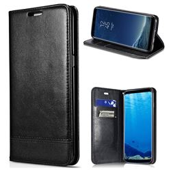 Magnetic Suck Stitching Slim Leather Wallet Case for Samsung Galaxy S6 Edge Plus Edge+ G928 - Black
