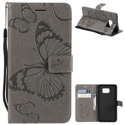 Embossing 3D Butterfly Leather Wallet Case for Samsung Galaxy S6 Edge Plus Edge+ G928 - Gray
