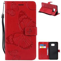 Embossing 3D Butterfly Leather Wallet Case for Samsung Galaxy S6 Edge Plus Edge+ G928 - Red