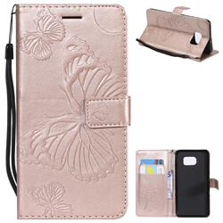 Embossing 3D Butterfly Leather Wallet Case for Samsung Galaxy S6 Edge Plus Edge+ G928 - Rose Gold
