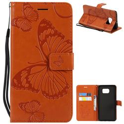 Embossing 3D Butterfly Leather Wallet Case for Samsung Galaxy S6 Edge Plus Edge+ G928 - Orange