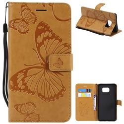 Embossing 3D Butterfly Leather Wallet Case for Samsung Galaxy S6 Edge Plus Edge+ G928 - Yellow