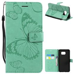 Embossing 3D Butterfly Leather Wallet Case for Samsung Galaxy S6 Edge Plus Edge+ G928 - Green
